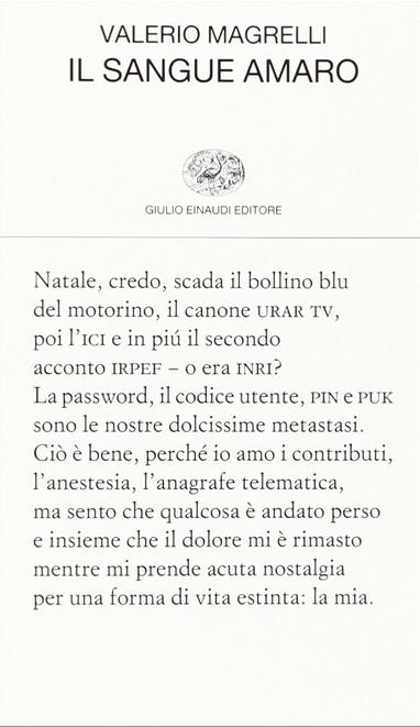 Valerio Magrelli - Il sangue amaro - Einaudi